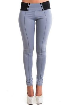 Stylish Mid-Waisted Button Embellished Slimming Women's Pants