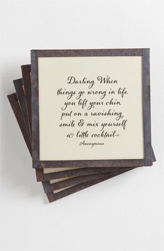 Love this!!!Ben's Garden 'When Things Go Wrong' Coaster Set available at Nordstrom