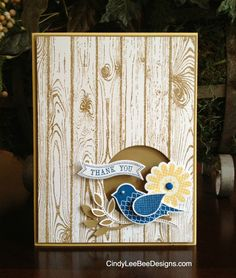 handmade card SU Polka Dot Pieces with Hardwood Background and  Itty Bitty Banners by CindyLeeBeeDesigns ... cute two step punch bird sits on branches at circular opening ... Stampin'Up!