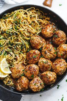 Garlic Butter Turkey Meatballs with Lemon Zucchini Noodles Garlic Butter Meatballs with Lemon Zucchini Noodles – This easy and nourishing skillet meal is absolutely fabulous in every way imaginable! Turkey Recipes, Beef Recipes, Chicken Recipes, Cooking Recipes, Dishes Recipes, Meatball Recipes, Easy Cooking, Skillet Recipes, Recipes With Pork Meatballs