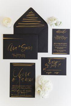 Modern Black and Gold Calligraphy Wedding Invitations | Kathryn McCrary Photography | http://heyweddinglady.com/organic-industrial-wedding-ideas-black-gold/