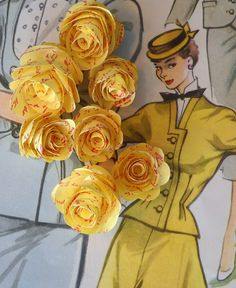 can't get enough of these paper flowers by jardindepapier. The printed yellow are adorable. Set of 20 for $10.00