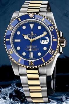 Rolex Submariner - Blue Dial, Blue Bezel Gold mix band Rolex is the most powerful watch brand in the world. That does not mean Rolex watches are the best, or that they are worth the most. Rather that the brand itself has the highest value. High End Watches, Fine Watches, Cool Watches, Men's Watches, Rolex Watches For Men, Wrist Watches, Stylish Watches, Luxury Watches, Swiss Army Watches