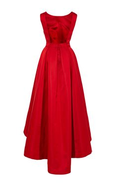 Katie Ermilio - Red high-to-low hem box pleat train gown (back)