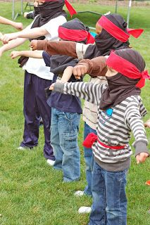 Ninja party [Games] * Super good ideas on here! The ninja head piece out of a t-shirt is genius!
