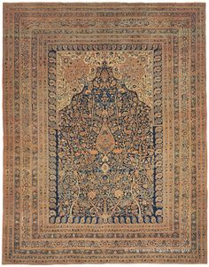 """Hadji Jallili Tabriz """"Tree of Life,"""" 11ft 7in x 15ft 0in, Dated 1875. A work of unfathomable craftsmanship, this deeply captivating 19th century Persian Tabriz rug from the luminary carpet designer Hadji Jallili offers a sublime coloration and delicacy of line that are seldom found. Its extremely original field design, nuanced """"Garden of Paradise"""" floral imagery and multiple layered borders demonstrate the artistic and technical mastery of this highly esteemed antique carpet weaving group."""
