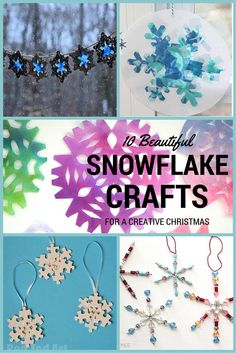 10 Creative snowflake crafts for winter - paper snowflakes, snowflake sun catchers, bead snowflakes and more.