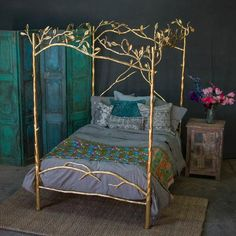 Sleep in the lap of luxury in our fully hand-crafted Forest Canopy 24 karat gold bed and bring your dreams to life. Fairytale Bedroom, Fairy Bedroom, Bedroom Decor, Enchanted Forest Bedroom, Bedroom Ideas, Master Bedroom, Fairytale Home Decor, Bedroom Shelves, Bedroom Signs