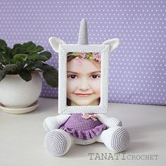 This is a crochet pattern (PDF file) NOT a finished doll you see on the photos!  This pattern is available in: English German Russian  SKILL LEVEL: INTERMEDIATE Photo Frame UNICORN – size 30 cm (12 in), if using fingering weight yarn (14 wpi, YarnArtBegonia).  Material: • yarn • hook 2.5 mm • glue gun • soft stuffing • scissors • Photo Frame 10x15 (frame width of 1.5 cm, thickness 1 cm) • cardboard • needle for sewing • ribbon  Pattern exists only in electronic form. The PDF file contains 11…
