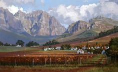 Roelof Rossouw Franchoek Africa Painting, Africa Art, Landscape Art, Landscape Paintings, Nature Paintings, Oil Paintings, South African Artists, Cool Art Drawings, Mountain Art