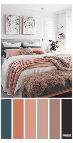 Teal Bedroom Decor, Peach Bedroom, Best Bedroom Colors, Bedroom Colour Palette, Home Bedroom, Teal Home Decor, Teal Bedrooms, Teal Master Bedroom, Calming Bedroom Colors