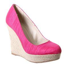 #Pink Thai Silk Linen #Wedges #Shoes