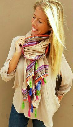 Pañuelo/foulard beige hippie/boho chic de www.wayandstyle.com