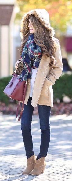 #winter #fashion / tartan scarf + beige coat