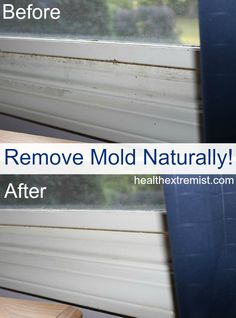 Find out how to get rid of mold naturally in 3 easy ways using ingredients in your kitchen or essential oils. Check out my before and after picture! - just in case this is ever needed. Household Cleaning Tips, Cleaning Recipes, House Cleaning Tips, Green Cleaning, Spring Cleaning, Cleaning Hacks, Cleaning Mold, Household Cleaners, Cleaning Supplies