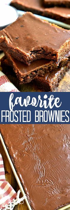 Hands down the BEST frosted brownies! Made with delicious, real ingredients and packed with rich, chocolatey flavor, once you try these brownies they'll become your favorite, too!