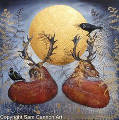 Deers in the sunlight with Jackdaws and bracken watercolour and gouache painting. The words are by Rumi. It's 19cm by 19cm.