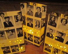 5 Yearbook Luminaries, Reunion Decor, Custom Made From Your Yearbook Pages, Decor for High School & College Reunions, Retro, Class Reunion More