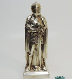Pasarel - Novelty Vintage Silver Plated Standing Knight Form Cigar Table Lighter $195.00