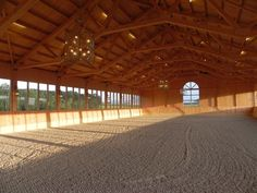 Doesn't that look like a happy place! Indoor all season riding arena in Schloss Amerang Germany. Dream Stables, Dream Barn, Crop Pictures, Crop Pics, Horse Arena, Indoor Arena, Horse Fencing, Future Farms, Modern Farmhouse Exterior