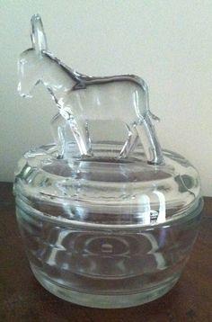 Depression Era Powder Jar Donkey by Jeannette Glass by FrannieBee, $15.00