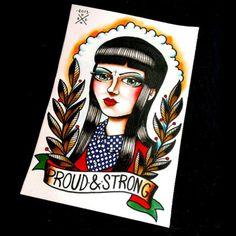 "Skinhead Girl / Skinbyrd ""Proud & Strong"" - Traditional Tattoo Hair Tattoos, Body Art Tattoos, Tattoo Art, Skinhead Tattoos, Flash Drawing, Skinhead Girl, Skin Drawing, Traditional Tattoo Flash, Original Tattoos"