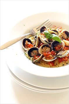 Capellini with Cockle Clams and Lemon Butter Sauce - bursting with ...
