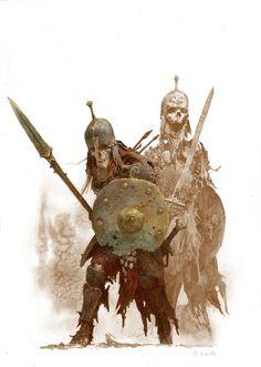 "scifi-fantasy-horror: ""Conan Boardgame Art by adrian smith "" Warhammer Fantasy, Fantasy Rpg, Medieval Fantasy, Fantasy Artwork, Dark Fantasy, Dungeons And Dragons, Rpg Horror, Zombicide Black Plague, Skeleton Warrior"