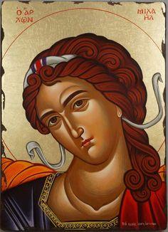 Michael the Archangel Hand Painted Greek Orthodox Icon Byzantine Icons, Byzantine Art, Religious Icons, Religious Art, Paint Icon, Archangel Michael, Orthodox Icons, Love Painting, Art Lessons
