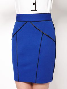 Cynthia Steffe - Sandi Satin Piped Peplum SKirt.  I feel like i could play stewardess in this skirt!