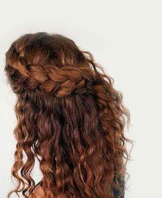 Braided Hairstyles with Curls - Femeline Cute Curly Hairstyles, Afro Hairstyles, Straight Hairstyles, Curly Hair Styles, Natural Hair Styles, Fine Hair, Wavy Hair, Hair Pieces, Hair Type