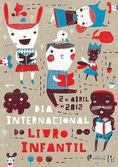 Dia Internacional do Livro Infantil de Portugal 2012. Gráfica de Yara Kono