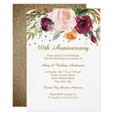 Burgundy Gold Floral Glitter 50th Anniversary Card - wedding invitations diy cyo special idea personalize card #anniversarygifts