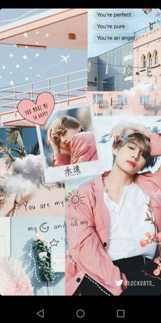 Bts Taehyung, Bts Bangtan Boy, Taehyung Fanart, Aesthetic Collage, Kpop Aesthetic, Pink Aesthetic, Aesthetic Qoutes, Bts Wallpaper Iphone Taehyung, Bts Lockscreen