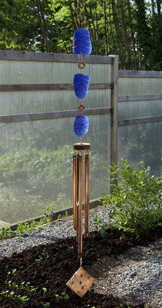 Wind Chime Blue Sea Glass Large Copper Chimes Windchime