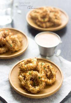 Baked Coconut Calamari with Spicy Yogurt - You won't miss the fried stuff, I promise! | Foodfaithfitness.com | @FoodFaithFit