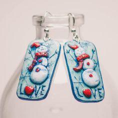 Snowman earrings / polymer clay / handmade / love by LevashovaJewelry on Etsy