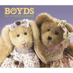 Boyds Bears 2016 Wall Calendar | $14.99 | For over 25 years the folks at Boyd's Bears have been giving out countless bear hugs with their adorable, fluffy, whimsically dressed bears and hares. Each month of this charming Boyds Bears Wall Calendar finds bears of all sizes in all kinds of places and spaces. Made with paper from environmentally responsible sources.