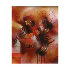 NOVICA Abstract Original Oil Painting Peru Fine Art ($403) ❤ liked on Polyvore featuring home, home decor, wall art, abstract paintings, paintings, spanish paintings, novica, abstract oil painting, orange home decor and abstract painting