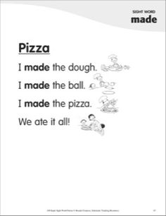 Pizza (Sight Word 'made'): Super Sight Words Poem