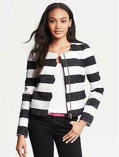 Banana Republic Scalloped Parisian Jacket - zipper flap with scallops Striped Jacket, Striped Blazer, Banana Republic, Pants For Women, Clothes For Women, Blazer Fashion, Women's Fashion, Petite Outfits, Black White Stripes