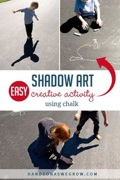 A new creative shadow art activity for kids! Make fun shapes with our bodies, trace them and transform it into a mega masterpiece on your driveway! Art Activities For Toddlers, Creative Activities For Kids, Creative Kids, Preschool Activities, Food Art For Kids, Shadow Art, Toddler Preschool, Kids House, Teaching Kids