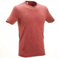 Pánske turistické tričko TechWool 50 s krátkymi rukávmi červené - Decathlon