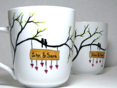 Really cute mug designs that you can do as a gift. Ceramic paint or sharpie. Preferably ceramic paint.