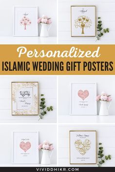 Personalized Islamic Wedding Gift Poster | Are you looking for the best personalized Islamic, nikkah, and family posters for your loved ones? These unique posters will be the perfect handmade keepsake for any occasion and it is sure to add a personalized touch to any home. Collect these awesome wedding posters. #PersonalizedWeddingGift #IslamicWeddingGiftPoster #WeddingGiftPoster #GiftPoster #WeddingPoster #Poster #vividdhikr Personalized Posters, Personalized Wedding Gifts, Family Poster, Wedding Posters, Unique Poster, Islamic Wall Art, Gallery Wall, Place Card Holders, Gift Ideas