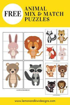Free Printable Animal Mix & Match Puzzles — Lemon & Kiwi Designs