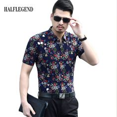 Casual Fashion Men's Shirts Men's Hawaiian Floral Shirt Flower Pattern Brand Top Camiseta Masculina Shirt Male Social Camicie