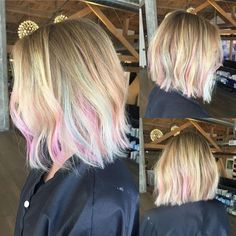 Ice pink & blue with balayage highlights short hair hair color hair pink Blonde Hair With Blue Highlights, Pink Hair Streaks, Pink Blonde Hair, Teal Hair, Balayage Highlights, Peekaboo Highlights, Pastel Highlights, Blonde With Pink, Violet Hair