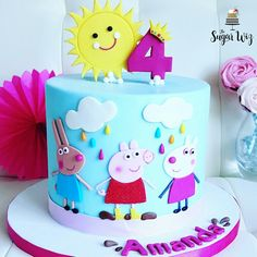 Peppa Pig, Peppa Pig Fondant Cake, Peppa Pig Cake, Peppa Pig Birthday Cake, Peppa Pig Birthday Ideas, Peppa Pig & Friends, Children Cake, Girl Cake, Cute Girl Cake