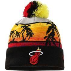 Mens   Womens Miami Heat New Era Hardwood Classics Winter 2016 NBA Sports  Fashion Beachin Cuffed Knit Hat With Pom - Black 426d4927b1